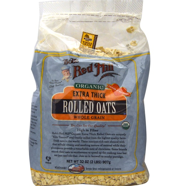 Bob's Red Mill, Organic Extra Thick Rolled Oats, Whole Grain, 32 oz (907 g) (Discontinued Item)