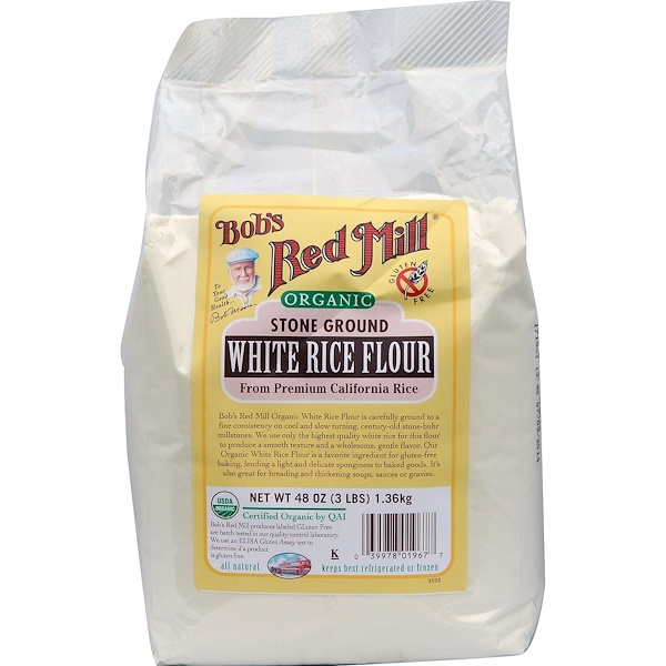 Bob's Red Mill, Organic White Rice Flour, 48 oz (1.36 kg) (Discontinued Item)