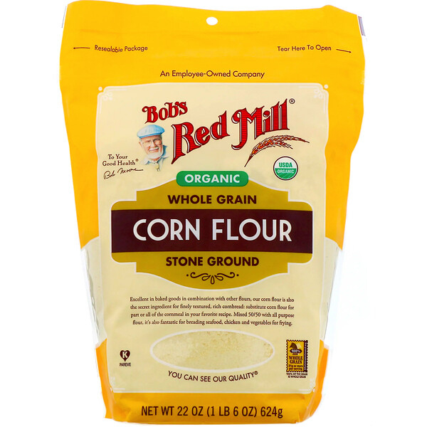 Organic Corn Flour, Whole Grain, 22 oz (624 g)