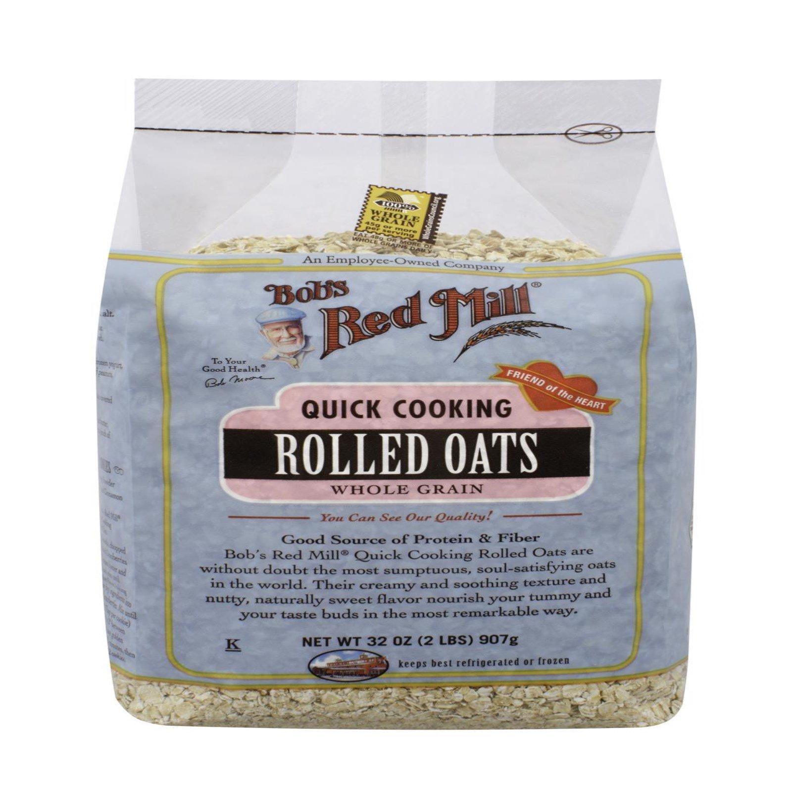 Bob's Red Mill, Овсяные хлопья быстрого приготовления, цельнозерновые, 32 унции (907 г)