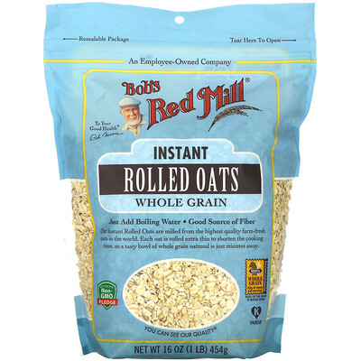 Купить Bob's Red Mill Instant Rolled Oats, Whole Grain, 16 oz (454 g)