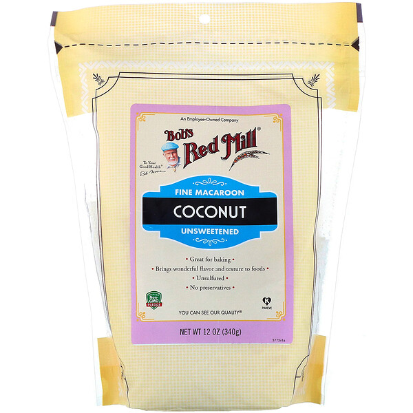 Bob's Red Mill, Fine Macaroon Coconut, Unsweetened, 12 oz (340 g)