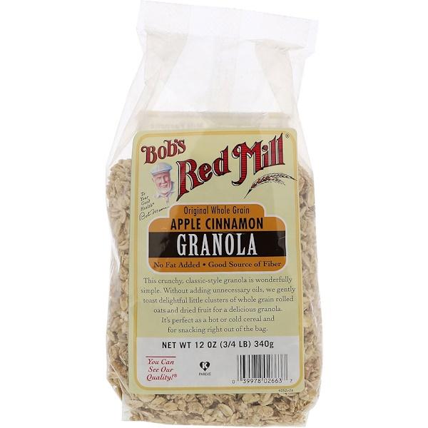 Bob's Red Mill, Original Whole Grain, Granola, Apple Cinnamon, 12 oz (340 g)