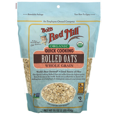 Bob's Red Mill Organic Quick Cooking Rolled Oats, Whole Grain, 16 oz (454 g)
