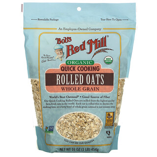 Bob's Red Mill, Organic Quick Cooking Rolled Oats, Whole Grain, 16 oz (454 g)