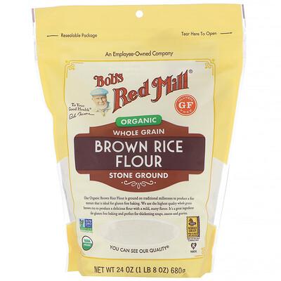 Купить Bob's Red Mill мука из органического бурого риса, цельнозерновая, 680г (24унции)