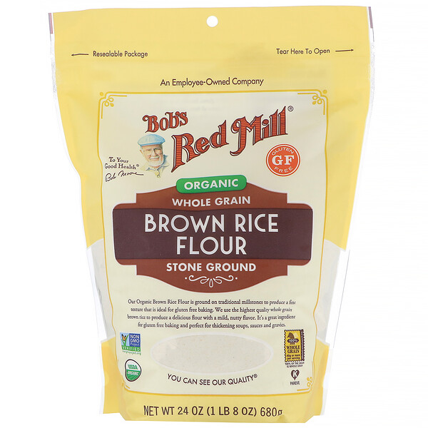 Bob's Red Mill, Harina de arroz integral orgánico, Cereal integral, 680 g (24 oz)