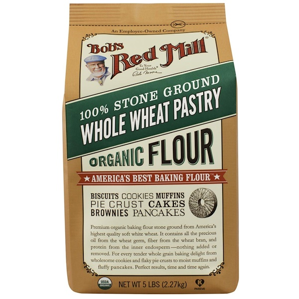 Bob's Red Mill, 100% Stone Ground Whole Wheat Pastry Flour, 5 lbs (2.27 kg) (Discontinued Item)