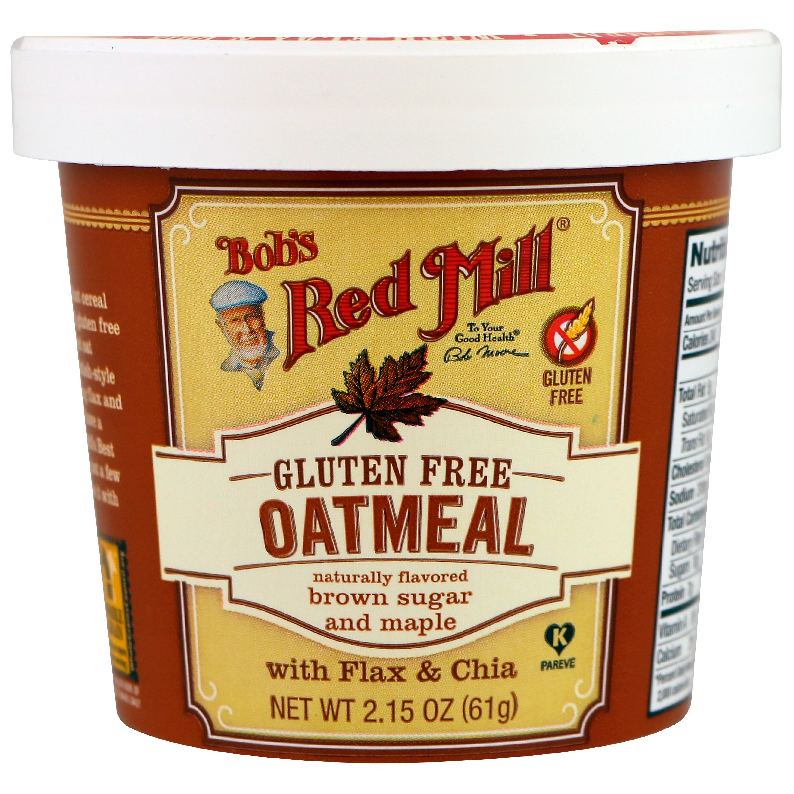 Bob's Red Mill, Овсянка, коричневый сахар и клен, 61 г (2,15 унций)