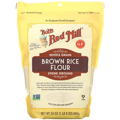 Купить Bob's Red Mill Brown Rice Flour, Whole Grain, 24 oz (680 g)