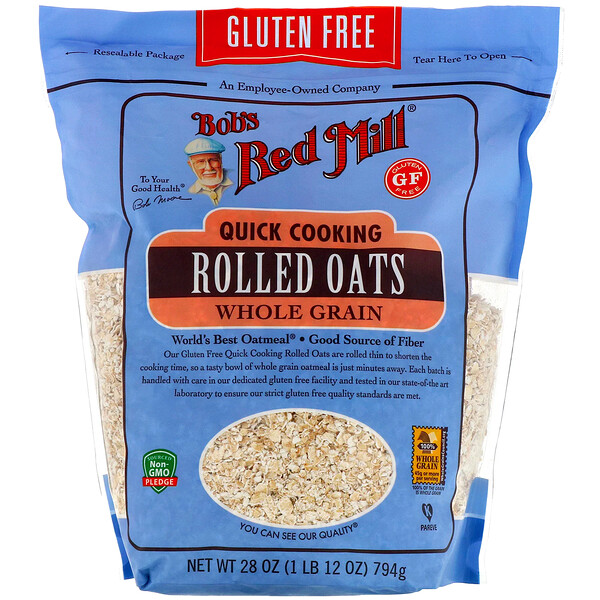 Bob's Red Mill, Quick Cooking Rolled Oats, Whole Grain, Gluten Free, 28 oz (794 g)