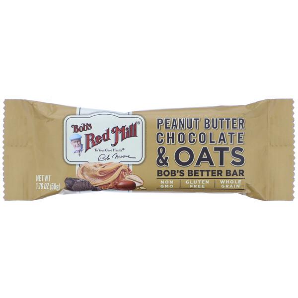 Bob's Red Mill, Bob's Better Bar, Peanut Butter Chocolate & Oats, 1.76 oz (50 g) (Discontinued Item)