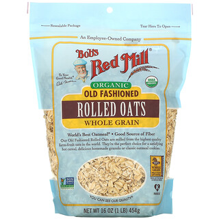 Bob's Red Mill, Organic Old Fashioned Rolled Oats, Whole Grain, 16 oz (454 g)