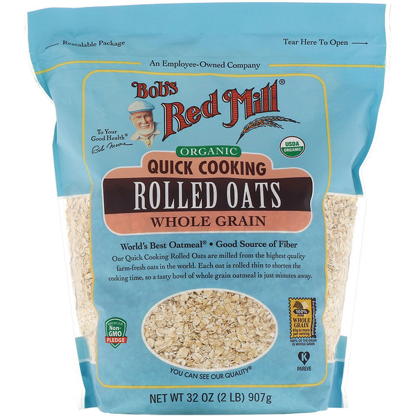 Bob's Red Mill, Organic, Quick Cooking Rolled Oats, Whole Grain, 32 oz (907 g)
