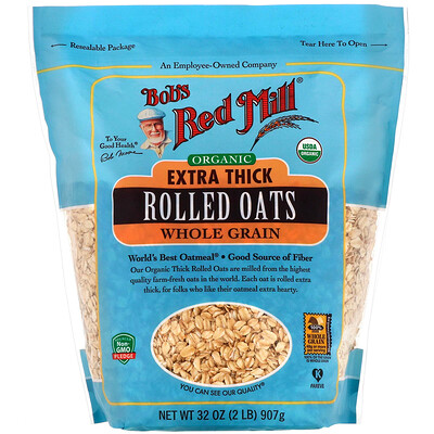 Купить Bob's Red Mill Organic Extra Thick Rolled Oats, Whole Grain, 32 oz (907 g)