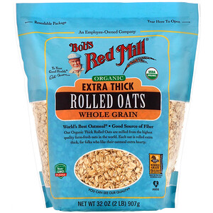 Бобс Рэд Милл, Organic Extra Thick Rolled Oats, Whole Grain, 32 oz (907 g) отзывы покупателей