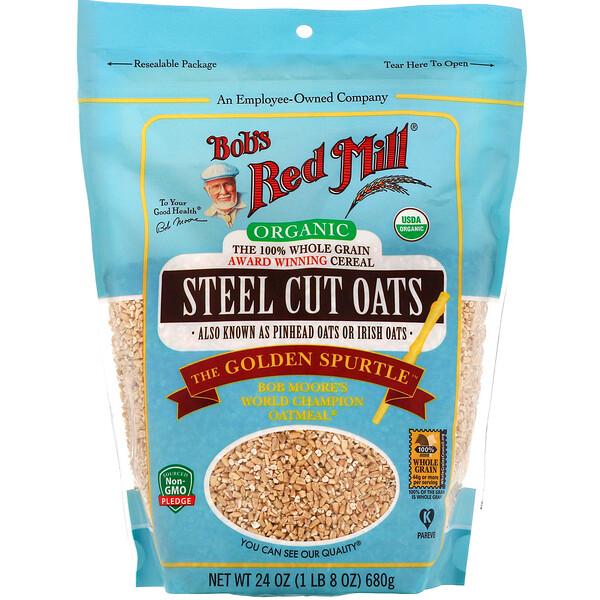 Organic Steel Cut Oats, Whole Grain, 24 oz (680 g)