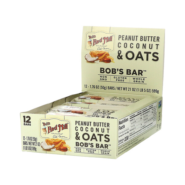 Bob's Red Mill, Bob's Better Bar, Peanut Butter Coconut & Oats, 12 Bars, 1.76 oz (50 g) Each (Discontinued Item)