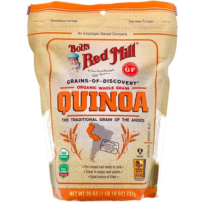 Купить Bob's Red Mill Organic Whole Grain Quinoa, Gluten Free, 26 oz (737 g)