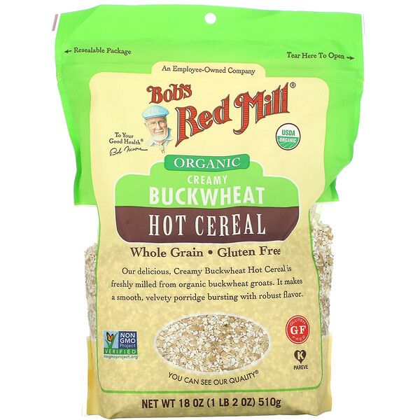 Bob's Red Mill, Organic Creamy Buckwheat Hot Cereal, Whole Grain, 18 oz (510 g)