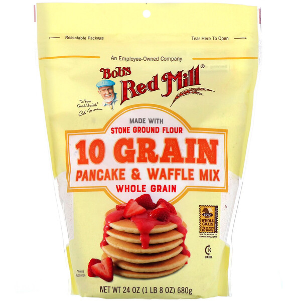 Bob's Red Mill, 10 Grain Pancake & Waffle Mix, Whole Grain, 24 oz (680 g)