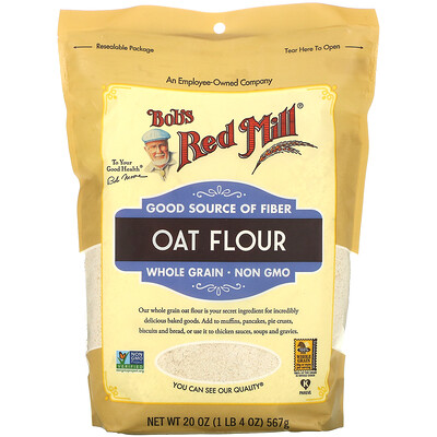 Купить Bob's Red Mill Oat Flour, Whole Grain, 20 oz (567 g)