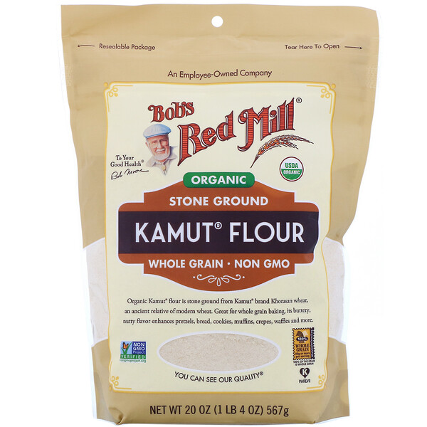 Bob's Red Mill, Organic Kamut Flour, Whole Grain, 20 oz (567 g) (Discontinued Item)