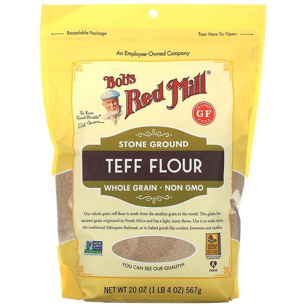 Stone Ground Teff Flour, Whole Grain, 20 oz ( 567 g)