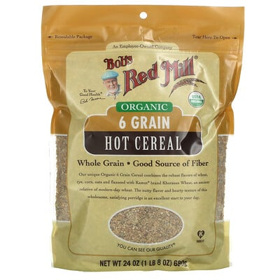 Bob's Red Mill Organic 6 Grain Hot Cereal with Flaxseed, 24 oz (680 g)