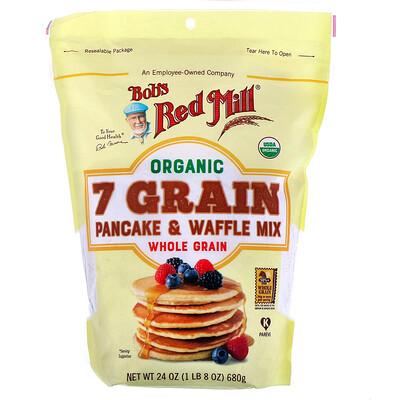 Купить Bob's Red Mill Organic 7 Grain Pancake & Waffle Mix, Whole Grain, 24 oz (680 g)