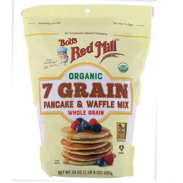 Bob's Red Mill, Organic, 7 Grain Pancake & Waffle Mix, Whole Grain, 24 oz (680 g)