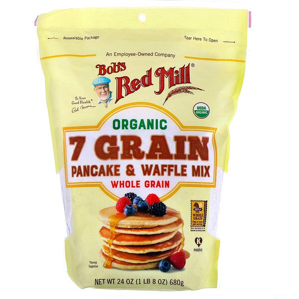 Organic 7 Grain Pancake & Waffle Mix, Whole Grain, 24 oz (680 g)