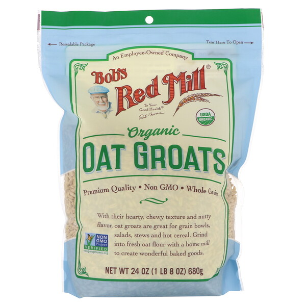 Bob's Red Mill, Organic Oat Groats, Whole Grain, 24 oz (680 g)