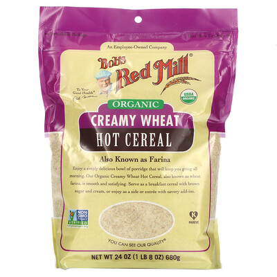 Bob's Red Mill Organic Creamy Wheat Hot Cereal, 24 oz ( 680 g)