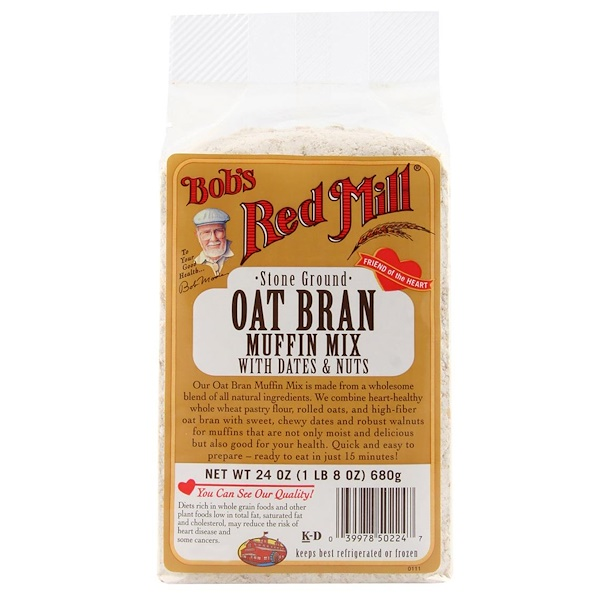 Bob's Red Mill, Oat Bran Muffin Mix, with Dates and Nuts, 24 oz (680 g) (Discontinued Item)