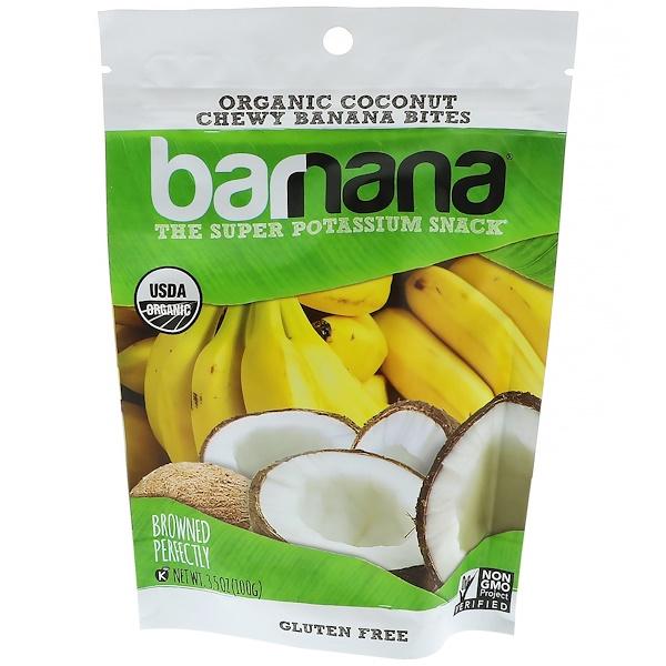 Barnana, Morceaux de bananes mous, Noix de coco bio, 3,5 oz (100 g)