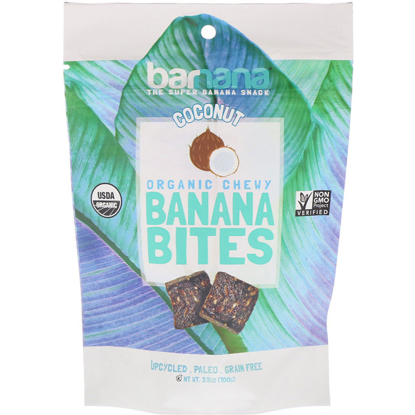 Barnana, Organic Chewy Banana Bites, Coconut, 3.5 oz (100 g) (Discontinued Item)