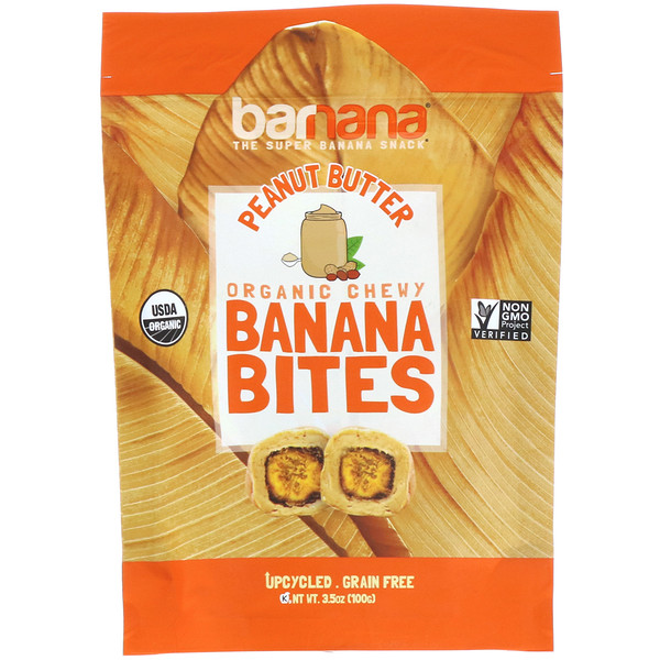 Barnana, Organic Chewy Banana Bites, Peanut Butter, 3.5 oz (100 g) (Discontinued Item)
