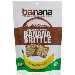 Barnana, Organic Crunchy Banana Brittle, Toasted Coconut, 3.5 oz (100 g)