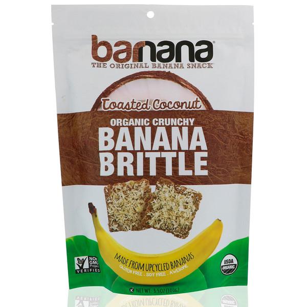 Barnana, Plátano crocante crujiente orgánico, coco tostado, 3.5 oz (100 g) (Discontinued Item)