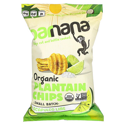 Barnana Organic Plantain Chips, Acapulco Lime, 5 oz (140 g)