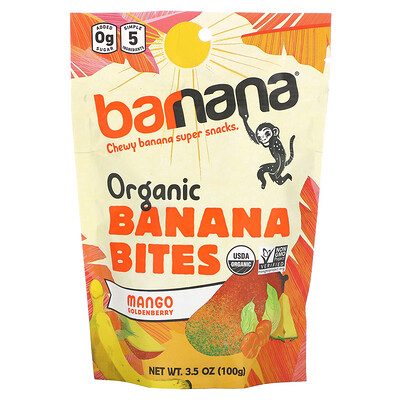 Barnana Organic Banana Bites, Mango Goldenberry, 3.5 oz (100 g)