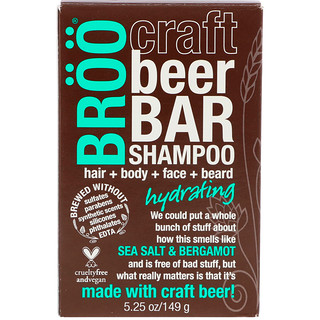 BRöö, Craft Beer Bar Shampoo, Hydrating, Sea Salt & Bergamot, 5.25 oz (149 g)