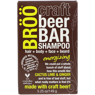 BRöö, Craft Beer Bar Shampoo, Energizing, Cactus Lime & Ginger, 5.25 oz (149 g)