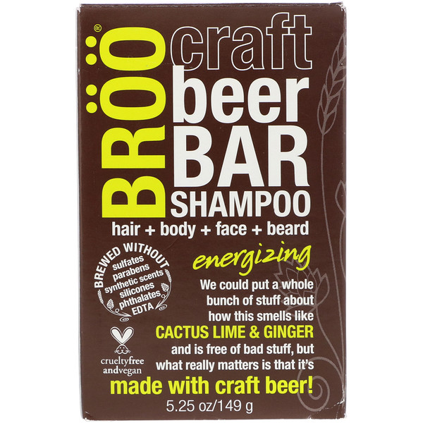 BRöö, Craft Beer Bar Shampoo, Energizing, Cactus Lime & Ginger, 5.25 oz (149 g) (Discontinued Item)