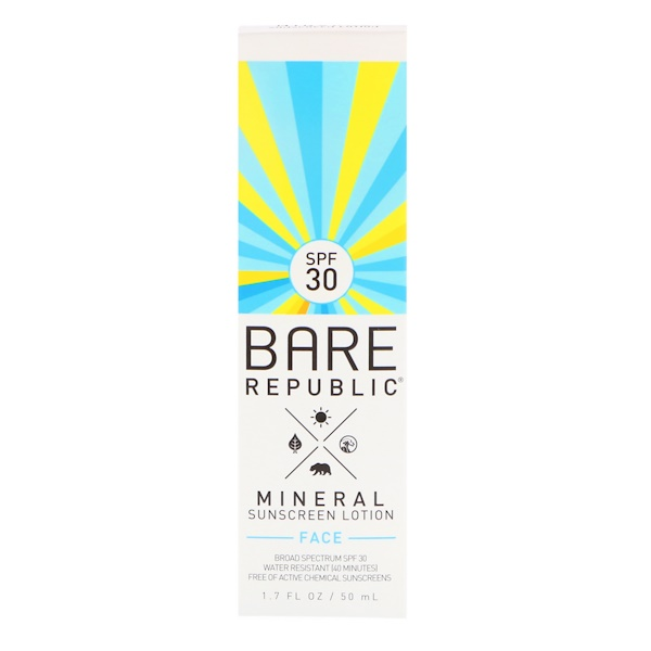 Bare Republic, Mineral Sunscreen Lotion, Face, SPF 30, 1.7 fl oz (50 ml) (Discontinued Item)