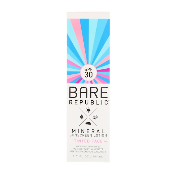 Bare Republic, Mineral Sunscreen Lotion, Tinted Face, SPF 30, 1.7 fl oz (50 ml) (Discontinued Item)