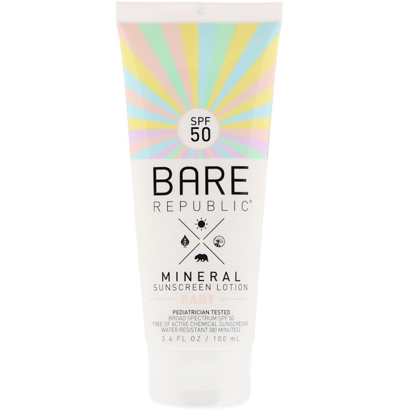 Bare Republic, Mineral Sunscreen Lotion, Baby, SPF 50, 3.4 fl oz (100 ml) (Discontinued Item)