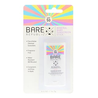 Bare Republic, Mineral Baby Sunscreen Stick, SPF 50, 0.5 oz (14.2 g)