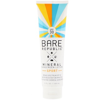 Bare Republic, Mineral Sunscreen Lotion, Sport, SPF 30, 5 fl oz (148 ml)